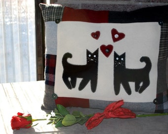 Valentine heart pillow Wool Cat hearts Red Black Gray Eco Friendly