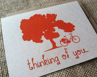 Thinking of you - Vintage Bike Series -  Note Card - Greeting Card - Recycled - Eco Friendly