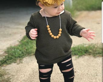 Off the Shoulder Knit Sweater- baby girl - toddler girl - baby girl long sleeve