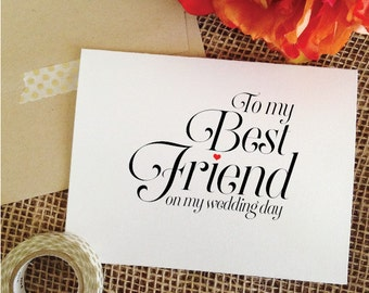 To my best friend on my wedding day card friend