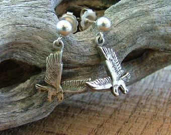 Sterling Silver Eagle Earrings with Post Ball and Dangle