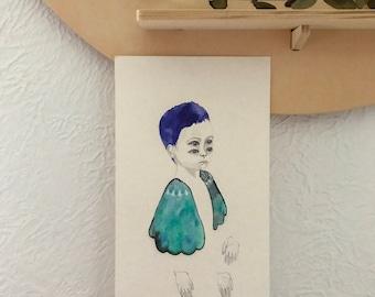 Watercolour and gouache surreal portrait