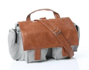 Grey Cotton,Messenger Bag, Padded Laptop, Briefcase ,Backpack - Lola, Vegan, Convertible Briefcase