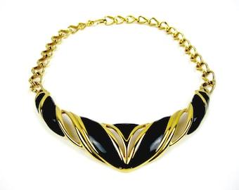 Monet Bib Necklace, Gold Tone Choker, Black Enamel Bib Necklace, 1980s