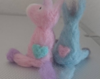 felted donkey couple