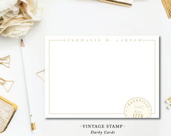 Vintage Stamp Printed Stationery | Flat Notes with Envelopes | Printed by Darby Cards