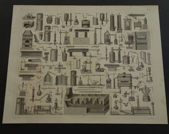 """165+ year old pictures of glassware and ovens for experiments test tubes - antique science print about chemistry lab laboratory poster 9x12"""""""