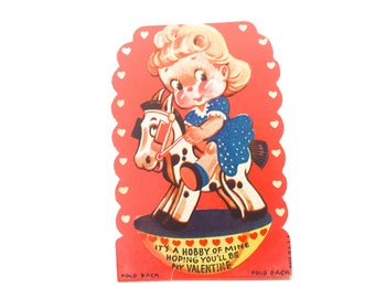 "Vintage Valentines Day Card ""It's a hobby of mine hoping you'll be my Valentine"" 1940's Die Cut Unused Card~ Girl on Horse"