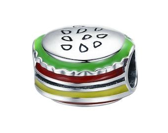 Hamburger 925 Sterling Silver Charm Bracelet Bead (Fits European and Pandora Bracelets)