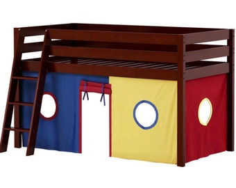 Twin Loft Bed with Blue/Red/Yellow Curtain, Cherry