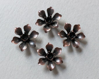 Oxidized Copper Riveted Flower Findings - Tiny Flowers 11mm