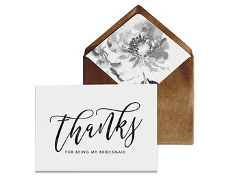 "Thanks for being my bridesmaid Card | 5x7"" Size with a Kraft Brown Envelope 