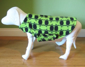 Fleece Dog Coat, Small Lime Green, and Black Spider Jacket with Black Fleece Lining