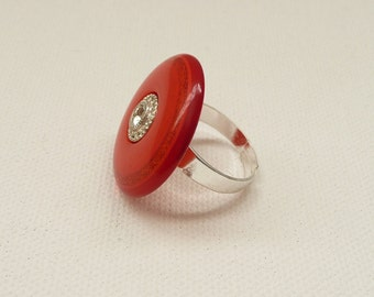 nr-Red and Silver Button Adjustable Ring with a Rhinestone Center