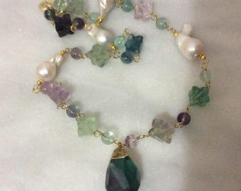 Fluorite and Keshi pearl necklace