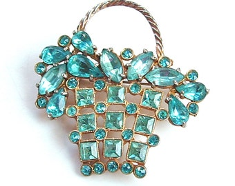 Aqua Turquoise Blue Rhinestone 1940s Antique Jewelry Basket Brooch