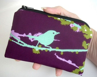 Small Coin Purse Eco Friendly Padded Zipper Pouch Sparrows on Plum Zipper pouch
