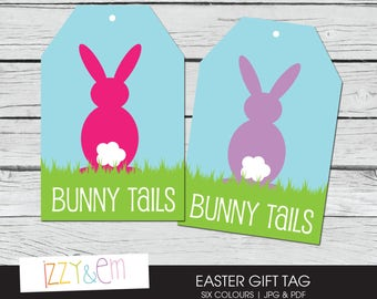 Printable Easter Tag - Bunny Tails Easter Gift Tag - Printable Gift Tag - Kids Easter Gift - Gift Tags for Favors - Easter Gift Tag