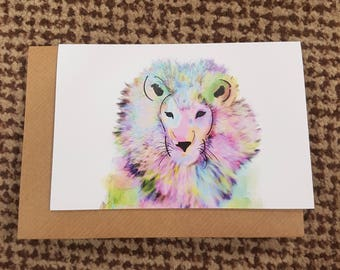 DERICK, Watercolour Lion A6 Recycled Greeting Card, Hand Painted with Brown Envelope