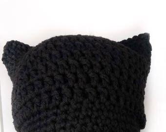 Black Women's March Hat, black kitty hat, resist hat, activist hat, protest hat, black crochet hat, equality for all, feminism, winter hat