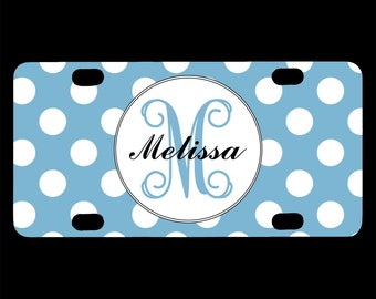 Monogrammed Bicycle License Plate, Light Blue White Polka Dots, Bike License Plate, Monogram Initials Letters, Personalized Bicycle Tag