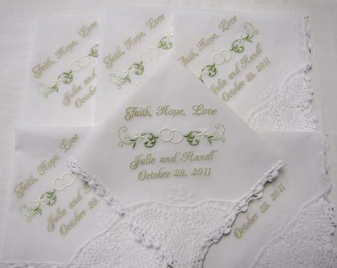 6 Elegant Personalized Wedding Handkerchiefs- Faith, Hope and Love