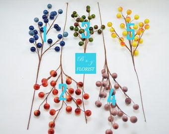 Large Berry Picks Sprays - Assorted Colors - Fall Thanksgiving Christmas Holiday Decorations - Home Decor