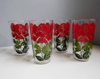 Vintage Swanky Swigs drinking glasses 1950s rose Swanky Swigs glasses