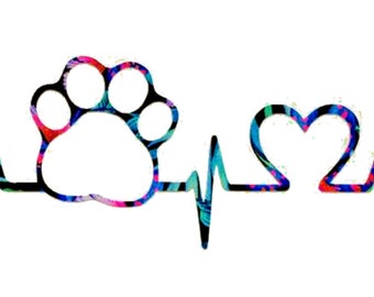 Pawprint Heartbeat Decal - Paw Print Sticker - Dog Cat Decal - Car Window,  Laptop Tumbler Water Bottle Bumper - You Choose Size and Color