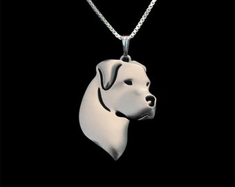 Dogo Argentino jewelry - sterling silver pendant and necklace