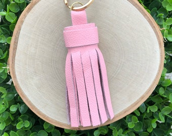 Baby Pink Genuine Leather Tassel Keychain | Tassel Keychain | Key Fob | Leather Keychain | Gifts