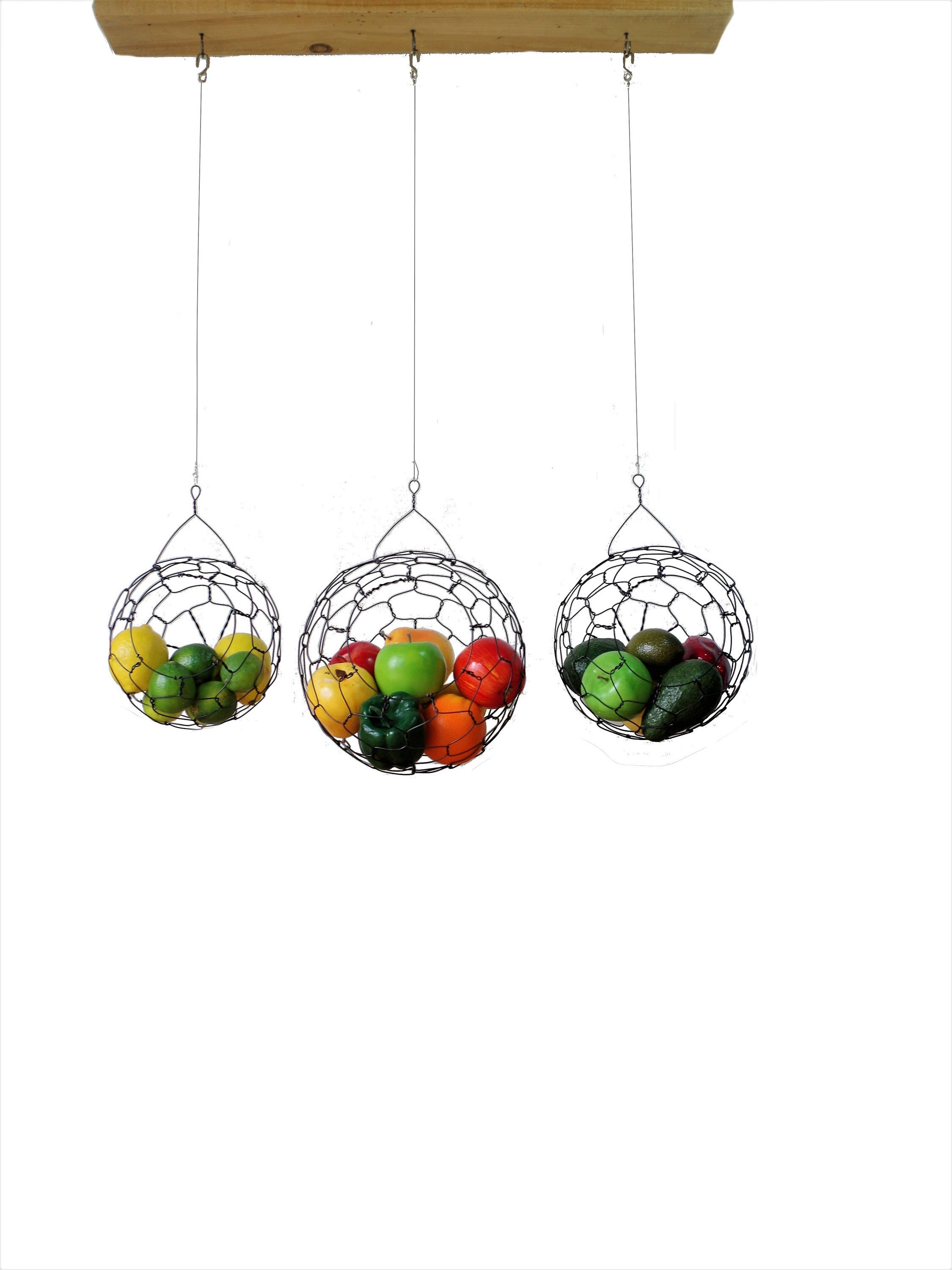 Hanging Wire Baskets, Wire Basket Set, Fruit basket, Sphere, Country Style, Rustic