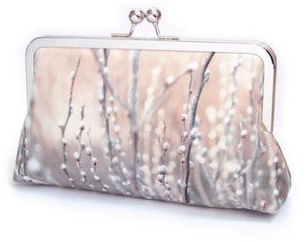 Willow clutch bag, bud blossom silk purse, floral, wedding purse, bridesmaid gift