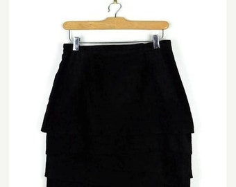 ON SALE Vintage Black Suede Leather layered Pencil Skirt from 1980's/W29