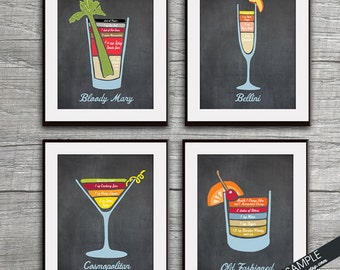 Mixed Drinks Recipe Diagram (Bloody Mary, Bellini, Cosmopolitan and Old Fashion ) Set of 4 Art Prints (Featured on Vintage Chalkboard)