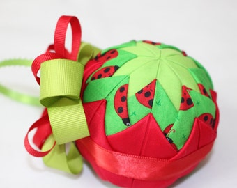 Lady Bugs Fabric Quilted Ornament