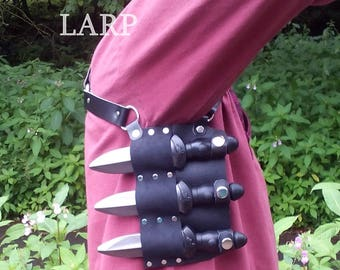 Larp Throwing Knives Underarm Rig with Larp Safe Knives for Larp, Cosplay or Costume.