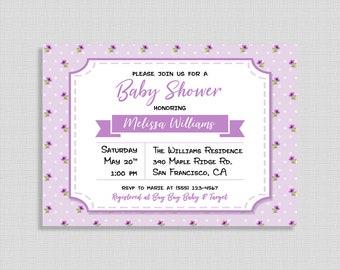 Violet Floral Baby Shower Invitation, Violet Invite, Flower Invitation, DIY PRINTABLE
