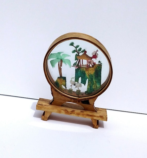 Vintage 1940's Miniature Scene in Glass from Japan