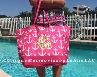 "25"" Personalized Anchor Weekender/Beach Bag/Tote zippered closure FREE Name/Monogram 3 colors - Brides, Bridesmaids, Graduation, Birthday"