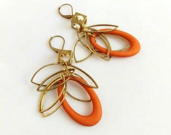 Geometric Boho Earrings, Big Bold Statement Earrings, Brass Dangle Earrings, Modern Cluster Earrings