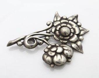 Large Antique Unusual Sterling Silver Flower Floral Spray Bouquet Brooch. [342]
