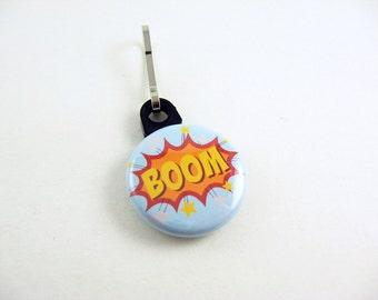 Boom, Zipper Pull, Zipper Charm, Blue, Yellow, Red, Comic