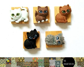 Cat Magnets_kitten magnet, Fridge Magnets, Fridge Magnet Set, Refrigerator Magnets, Magnet Sets, Office Decor, Kitchen Decor, Magnetic Board