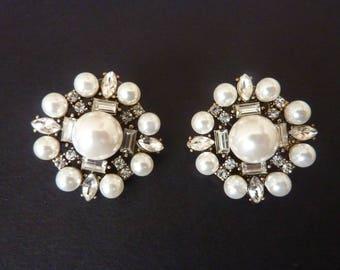 Pearl Earrings Art Deco Earrings Bridal Earrings Wedding Earrings Great Gatsby Earrings Art Nouveau Vintage Earrings Downton Downtown Abbey