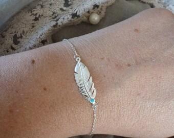 925 sterling silver feather bracelet