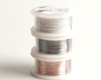PASTEL metallic wires, 28 gauge Extra long Craft Wire spools 360 feet,  Ultra White Rose gold and Steel, non tarnish wires