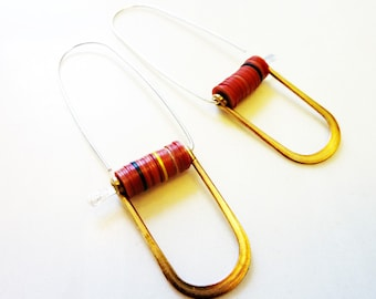 Little Records Horseshoe Earrings, Vintage Brass Rectangle Connectors, Colorful African Vinyl Trade Beads, Sterling Silver Wires