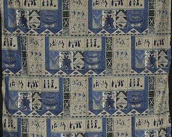 "Zimbabwe Village Scenes Fabric Art Blue 56"" X 80"""