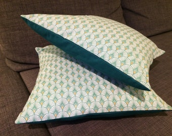 Green japane pattern pillow cover